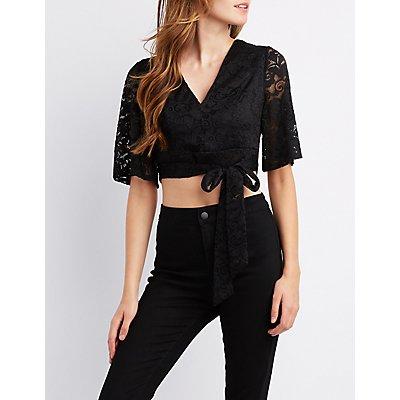 Lace Tie-Back Crop Top