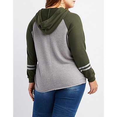 Plus Size Brushed Varsity Stripe Hooded Sweatshirt