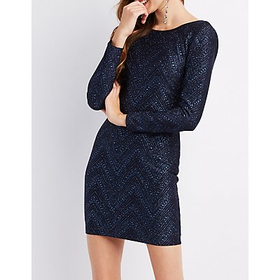 Long Sleeve Scoop Back Shimmer Dress