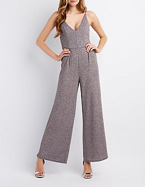 Glitter Strappy-Back Wide Leg Jumpsuit
