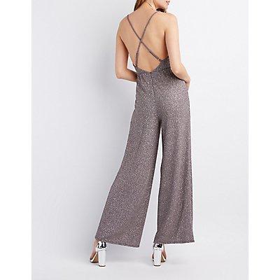 Glitter Strappy-Back Wide Leg Jumpsuit