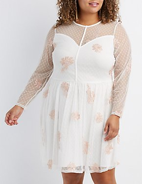 Plus Size Floral Embroidered Mesh Skater Dress