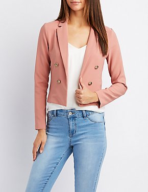 Notched Lapel Cropped Blazer