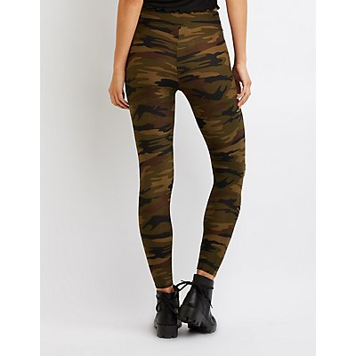 Camo Slashed Stretchy Leggings