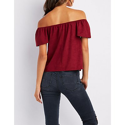 Faux Suede Notched Off-The-Shoulder Top