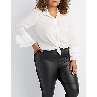 Plus Size Ruffle-Trim Bell Sleeve Button-Up Top