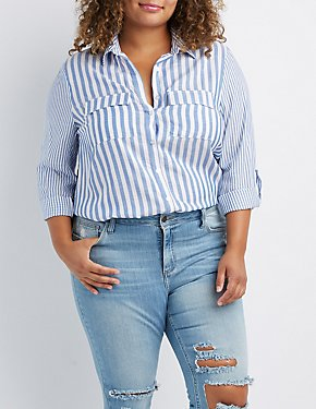 Plus Size Striped Button-Up Pocket Shirt