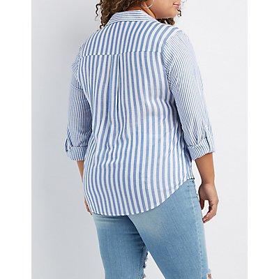 Plus Size Striped Button-Up Pocket Shirt