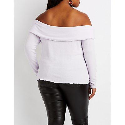 Plus Size Hacci Off-The-Shoulder Top