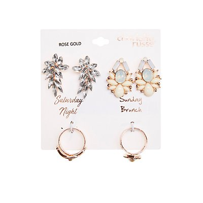 Crystal Stud Earrings & Stacking Rings Set