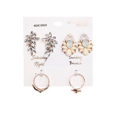Crystal Stud Earrings & Stacking Rings Set