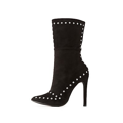 Studded Pointed Toe Booties