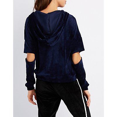 Velour Cut-Out Sleeve Hoodie
