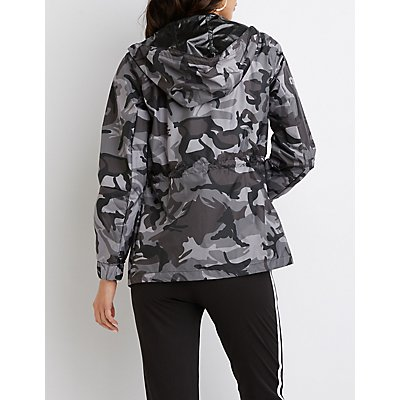 Camo Hooded Anorak Jacket