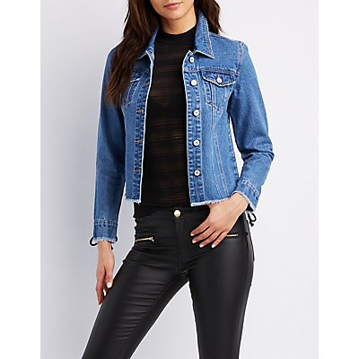 Refuge Lace-Up Sleeve Denim Jacket
