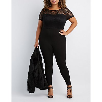 Plus Size Lace Combo Jumpsuit
