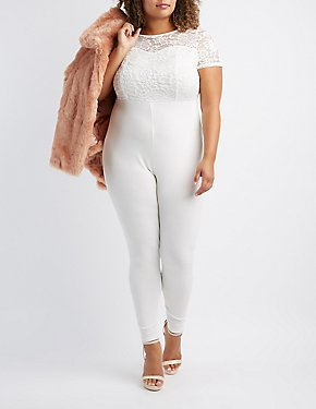 Plus Size Lace Combo Jumpsuit