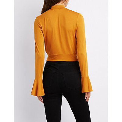 Surplice Mock Neck Bell Sleeve Top