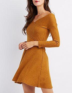 Ribbed Hacci Knit Skater Dress