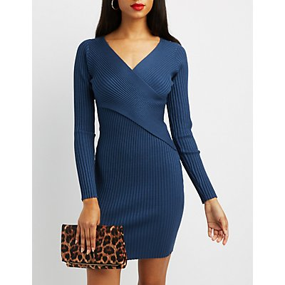 Ribbed Bodycon Wrap Dress