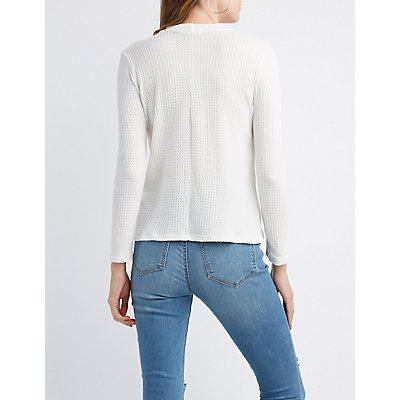 Crochet-Trim Mock Neck Henley Top