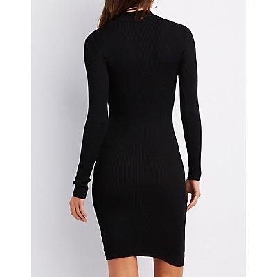 Sweater Knit Mock Neck Lattice-Front Bodycon Dress