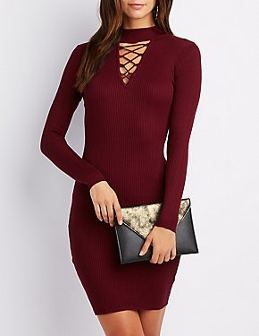 Sweater Knit Mock Neck Lattice-Front Bodycon Dress