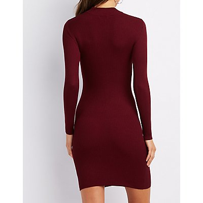 Mock Neck Lattice-Front Sweater Dress