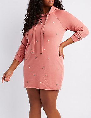 Plus Size Pearl Applique Hooded Sweatshirt Dress