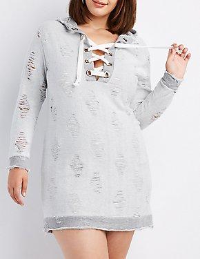 Plus Size Lace-Up Distressed Sweatshirt Dress