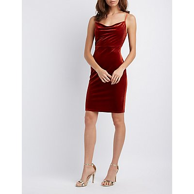 Velvet Cowl Neck Bodycon Dress