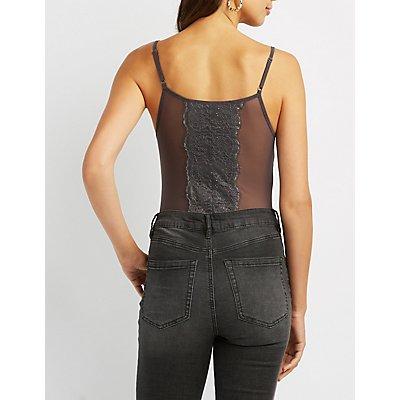 Caged Lace-Inset Mesh Bustier Bodysuit