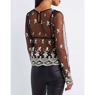 Floral Lace Embroidered Mesh Crop Top