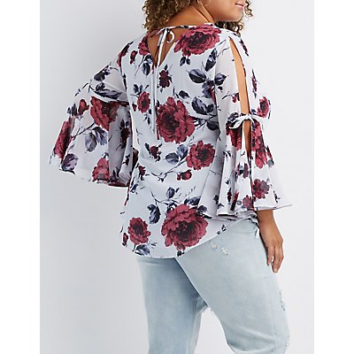 Plus Size Floral Bell Sleeve Tie-Back Top
