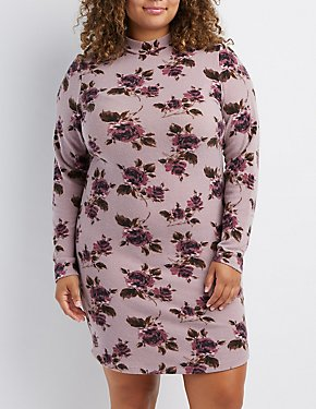 Plus Size Floral Hacci Sweater Dress