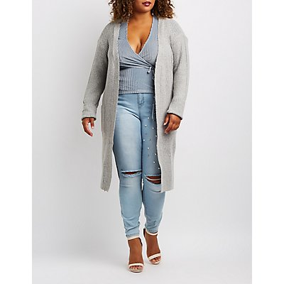 Plus Ribbed Knit Open-Front Duster