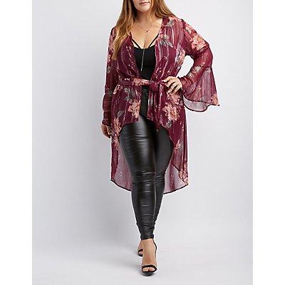 Plus Size Floral Tunic Kimono