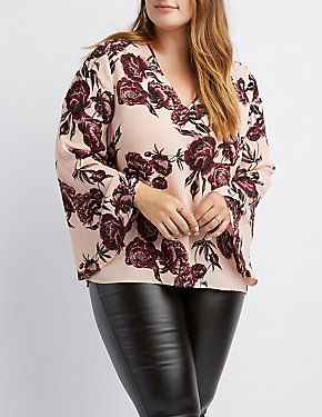 Plus Size Floral V-Neck Bell Sleeve Top