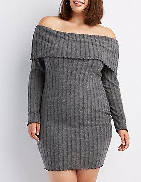 Plus Size Ribbed Off-The-Shoulder Dress
