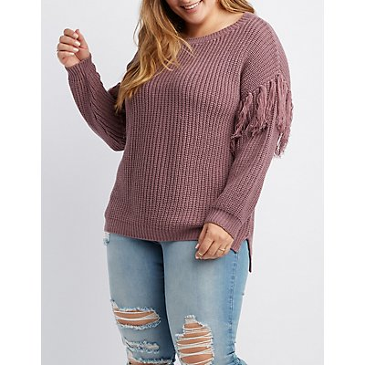 Plus Size Tassel Fringe Pullover Sweater