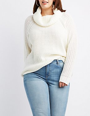 Plus Size Shaker Stitch Cowl Neck Sweater