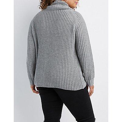 Plus Size Shaker Stitch Cowl Neck Sweater