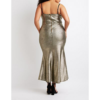 Plus Size Metallic Mermaid Maxi Slit Dress