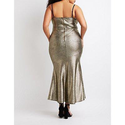 Plus Size Metallic Mermaid Maxi Slit Dress