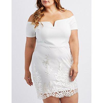 Plus Size Lace-Inset Off-The-Shoulder Shift Dress