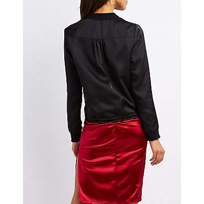 Satin Drawstring Bomber Jacket