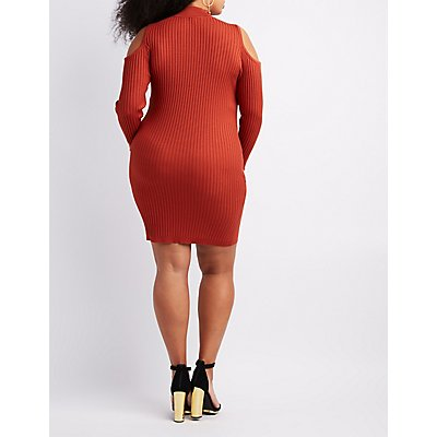 Plus Size Ribbed Mock Neck Cold Shoulder Dress