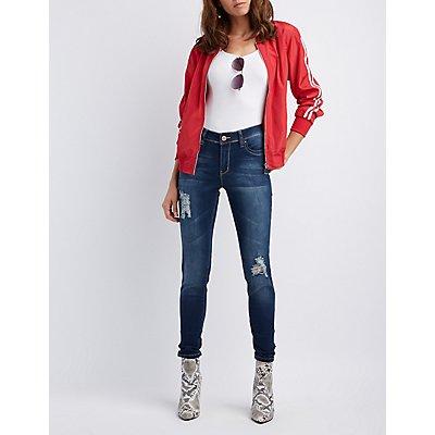 Acid Wash Push-Up Skinny Jeans