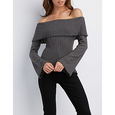 Ribbed Lettuce Edge Off-The-Shoulder Top