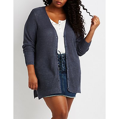 Plus Size Slub Knit Button-Up Cardigan
